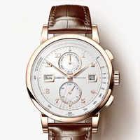 LOBINNI Männer Uhr Schweiz Luxus Marke Automatische Mechanische Männer der Wirstwatches Sapphire Leder Tracymeter relogio L16001-3