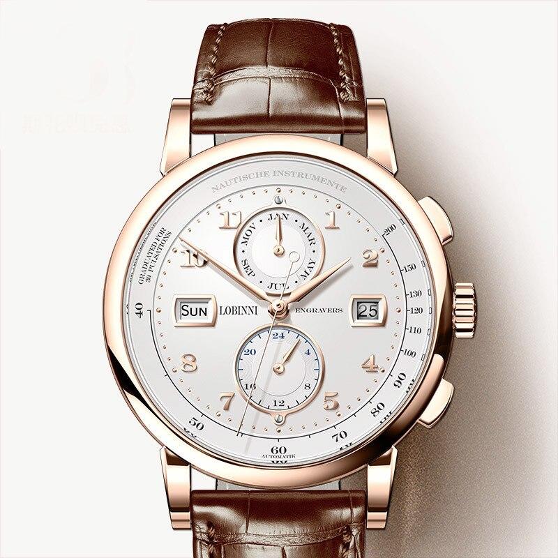 LOBINNI الرجال ووتش سويسرا العلامة التجارية الفاخرة التلقائي الميكانيكية الرجال Wirstwatches الياقوت جلدية Tracymeter relogio L16001 3-في الساعات الميكانيكية من ساعات اليد على  مجموعة 1