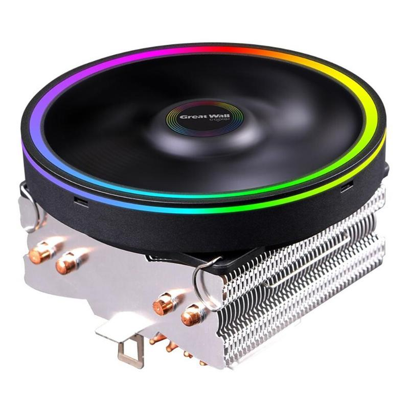 Color Lighting CPU Cooler Fan Computer Quiet Cooling Heatsink for Intel AMD Horizontal Fluid Design