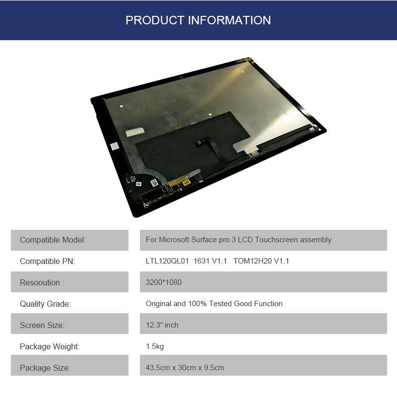 MEIHOUTablet Touch Panel For Microsoft Surface PRO3 1631 V1.1 Tablet Touch Screen Assembly LTL120QL01 Replacement Touch Screen
