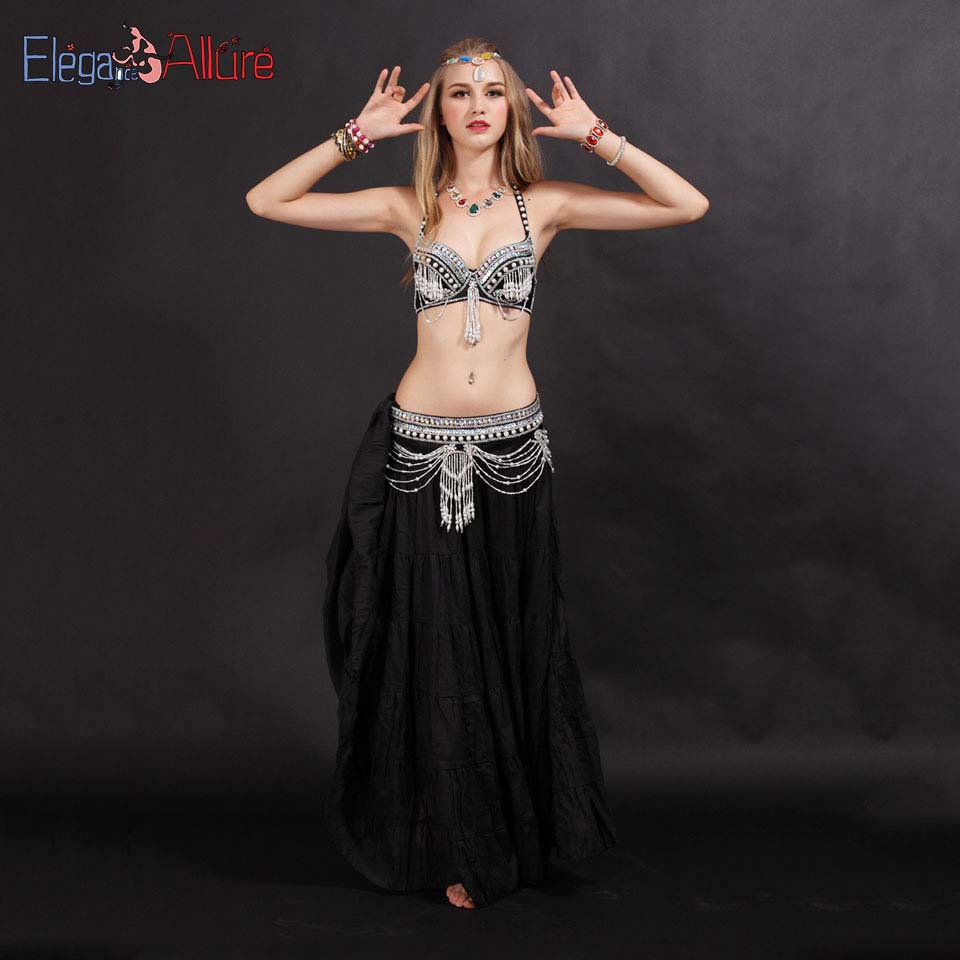 E A Belly Dance Costume Set Shining Bellydance Clothes Performance Wear Bra Belt Skirt Set Long Black Dress Halter Top Accessory in Belly Dancing from Novelty Special Use