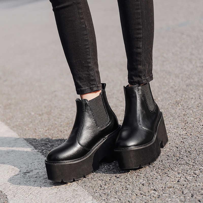 Punk phụ nữ khởi động nữ nền tảng khởi động Cao Gót mùa đông mùa thu giày xe gắn máy Mắt Cá Chân Khởi Động tuyết không thấm nước khởi động phụ nữ YMA414