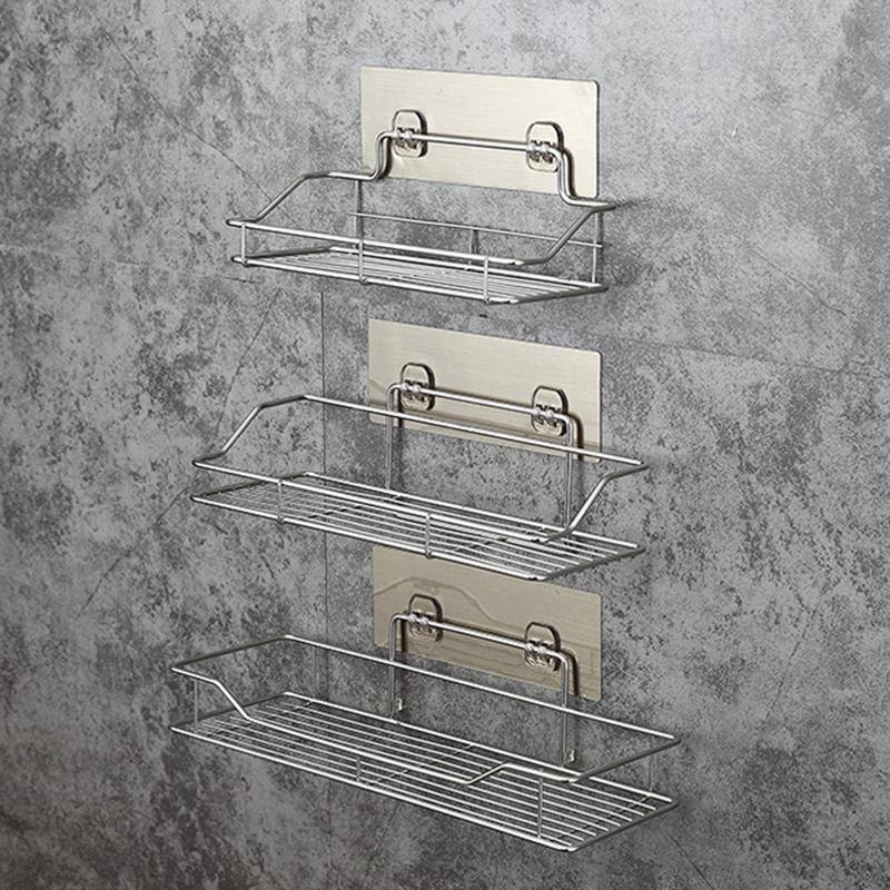 Stainless Steel Sink Sucker Organizer Storage Shelf Bathroom Wall Vacuum Suction Cup Storage Holder Kitchen Bathroom Accessories