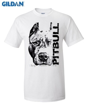 GILDAN funny t shirt Homme Tees Print T-Shirt Men Harajuku Pitbull Head - Dog T Shirt Pit Bull Top Tee Design Graphic Shirts