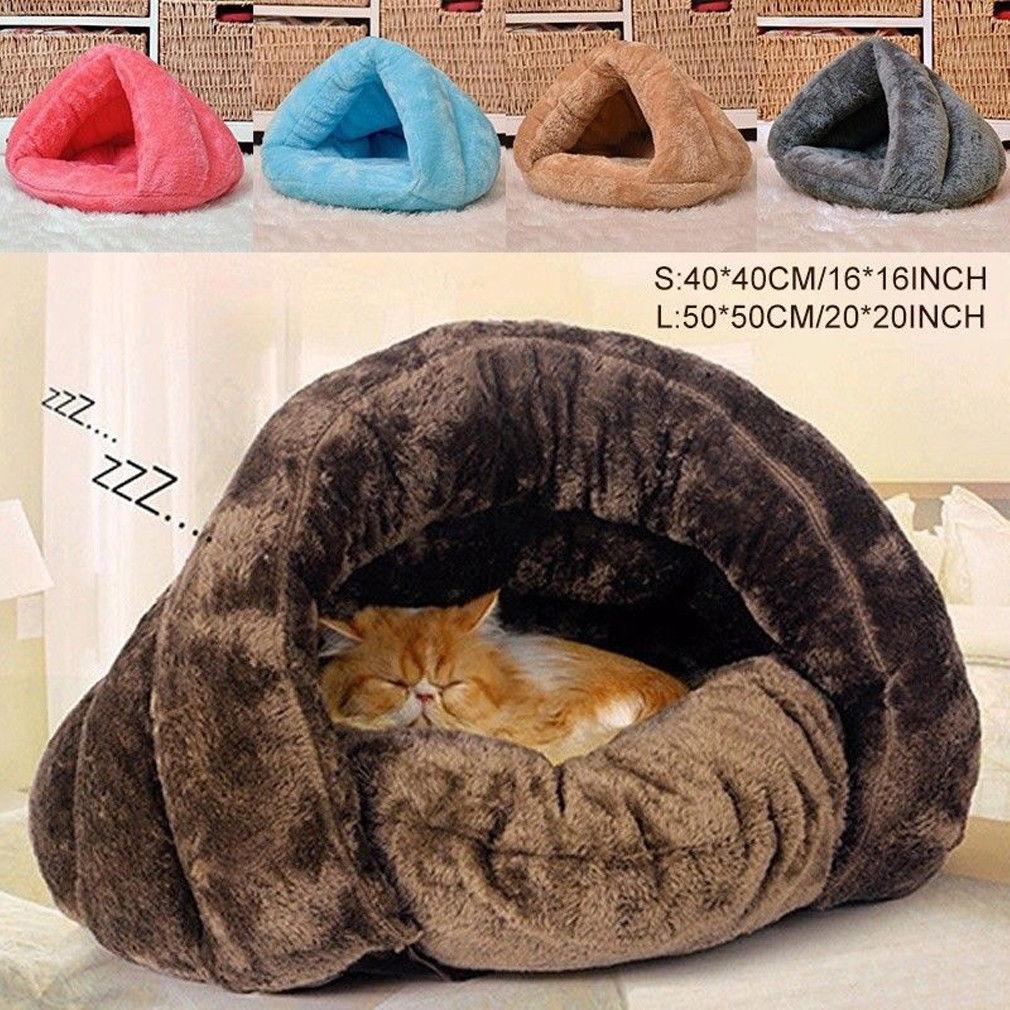 2 taille chiot Pet chat chien doux chaud nid chenil lit Cave maison sac de couchage tapis Pad tente S L 5 couleurs animaux de compagnie hiver chaud confortable lits