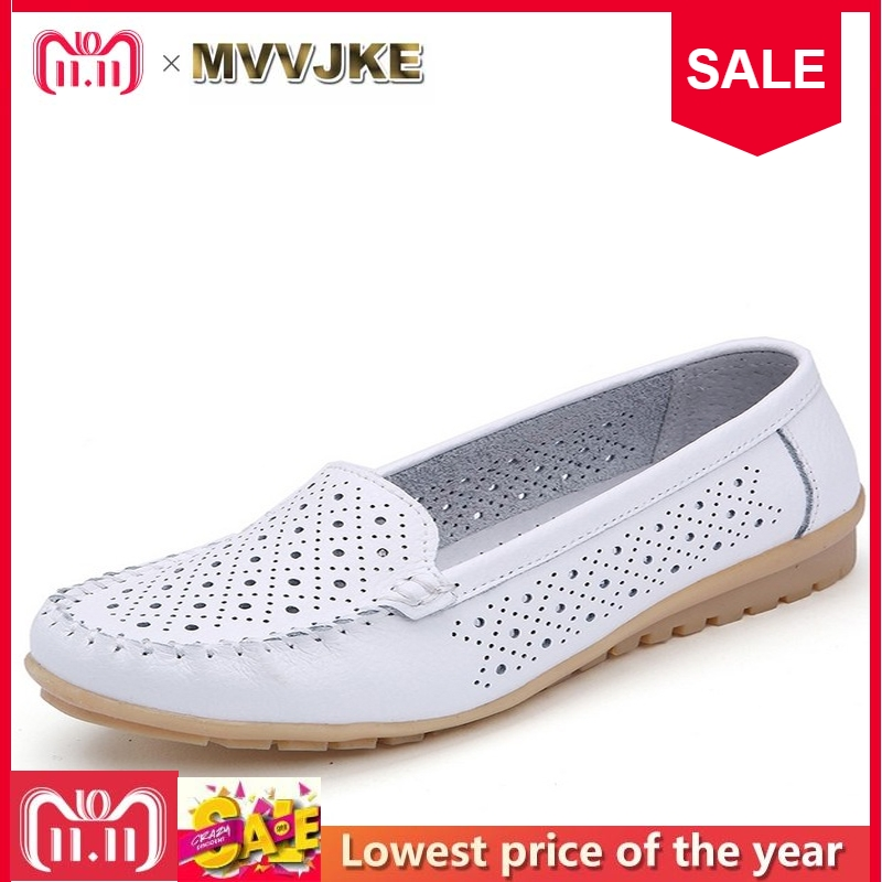MVVJKE 2017 Spring women flats shoes women genuine leather shoes woman cutout loafers slip on ballet flats ballerines flats 2018 new genuine leather flat shoes woman ballet flats loafers cowhide flexible spring casual shoes women flats women shoes k726
