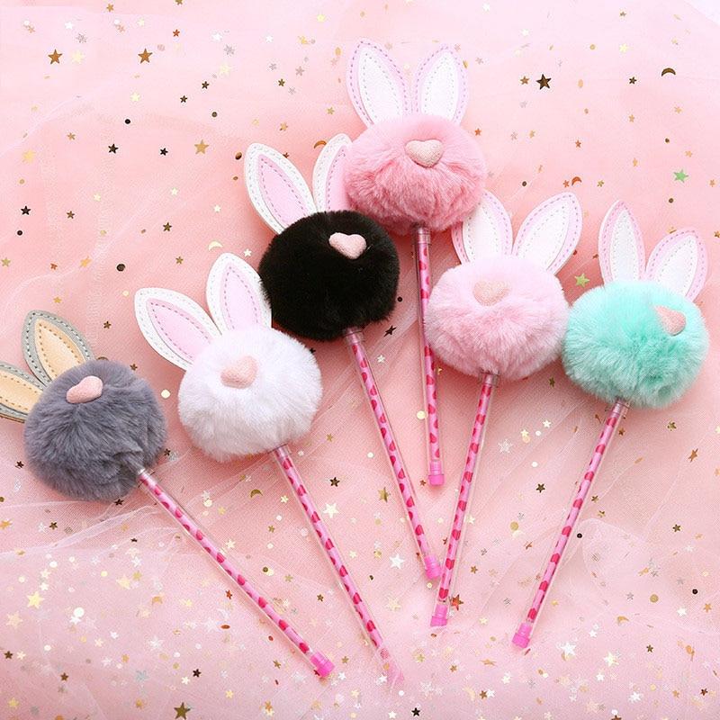Cute Plush Rabbit Ears Gel Pen 0.5mm Kawaii Black Ink Neutral Pens For Kids Girls Gift Writing School Supplies Korean Stationery