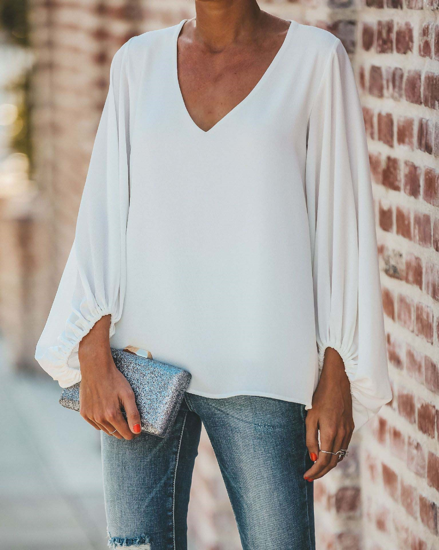 Womens Casual Sweet and Cute Loose Shirt Lantern Sleeve Balloon V-Neck Blouse Tops