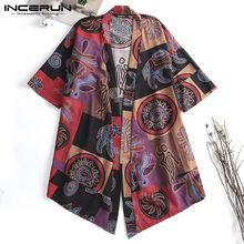 Big 5XL Ethnic Cloak Men Trench Half Sleeve Shirts Tops Chinese Harajuku Kimono Coats Hombre Cardigan Vintage Men Mantle Outwear(China)