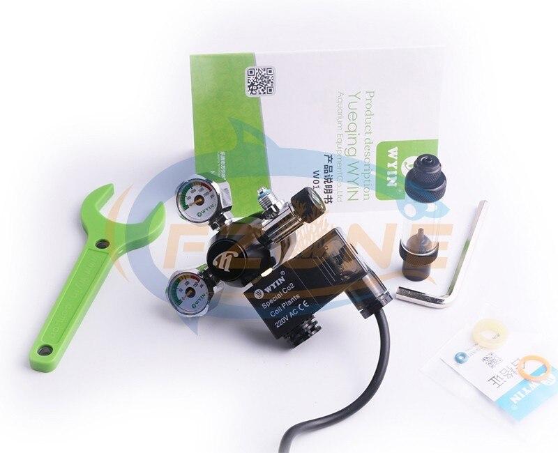 Chihiros acuario Wyin Mini doble calibre CO2 regulador con válvula de contador de burbujas de válvula de solenoide y Kits de instalación - 5