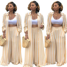 SexeMara Wide Leg Pants Striped Top and Full Length Pants Two Piece O Neck Set Womens