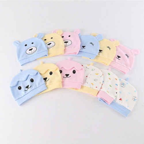 หมีน้อยน่ารักเด็กวัยหัดเดินทารกแรกเกิดเด็กทารกเด็กทารกหมวก Comfy โรงพยาบาล 3D หูหมวกหมวก