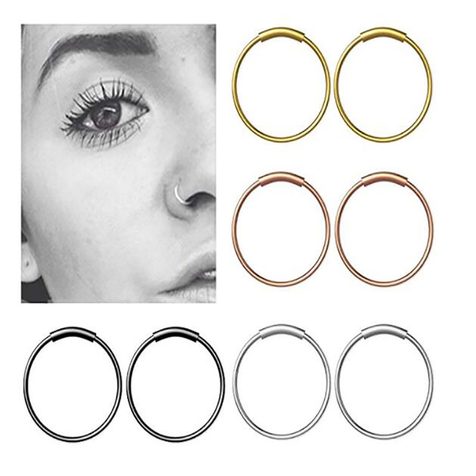 16pcs Nose Ring Piercing 8mm Stainless Steel Round Unisex Ear Stud