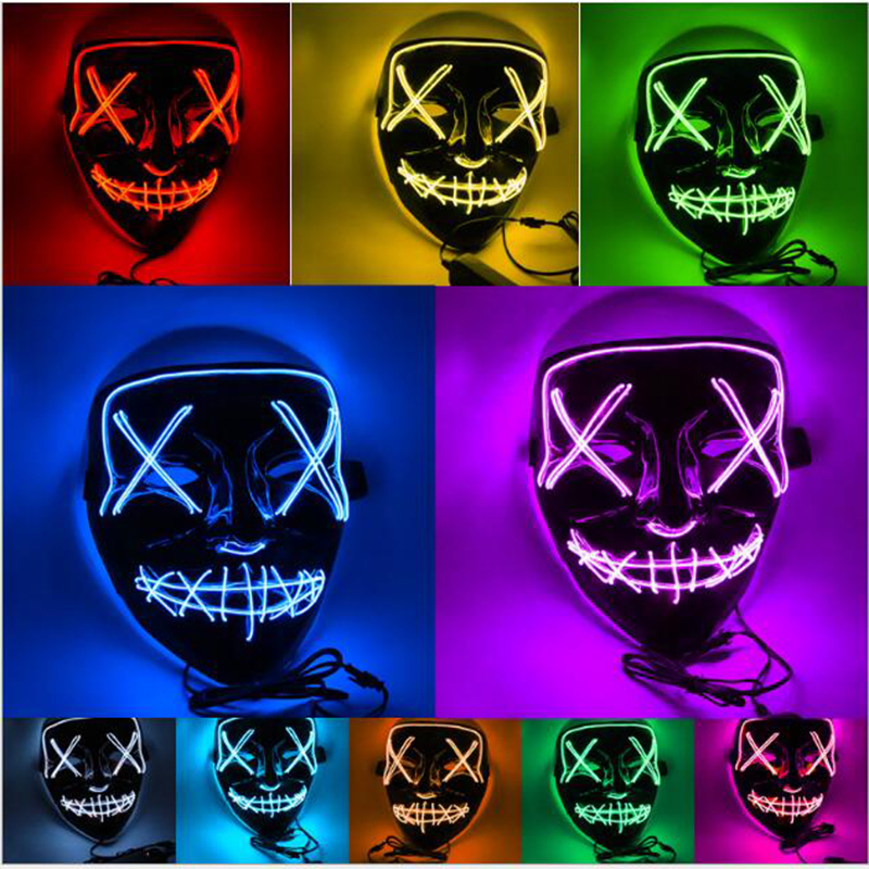 1PCS 10 Style Party Luminescence LED Masks V for Vendetta  Mask  Guy Fawkes Fancy Adult Cosplay Halloween Masks