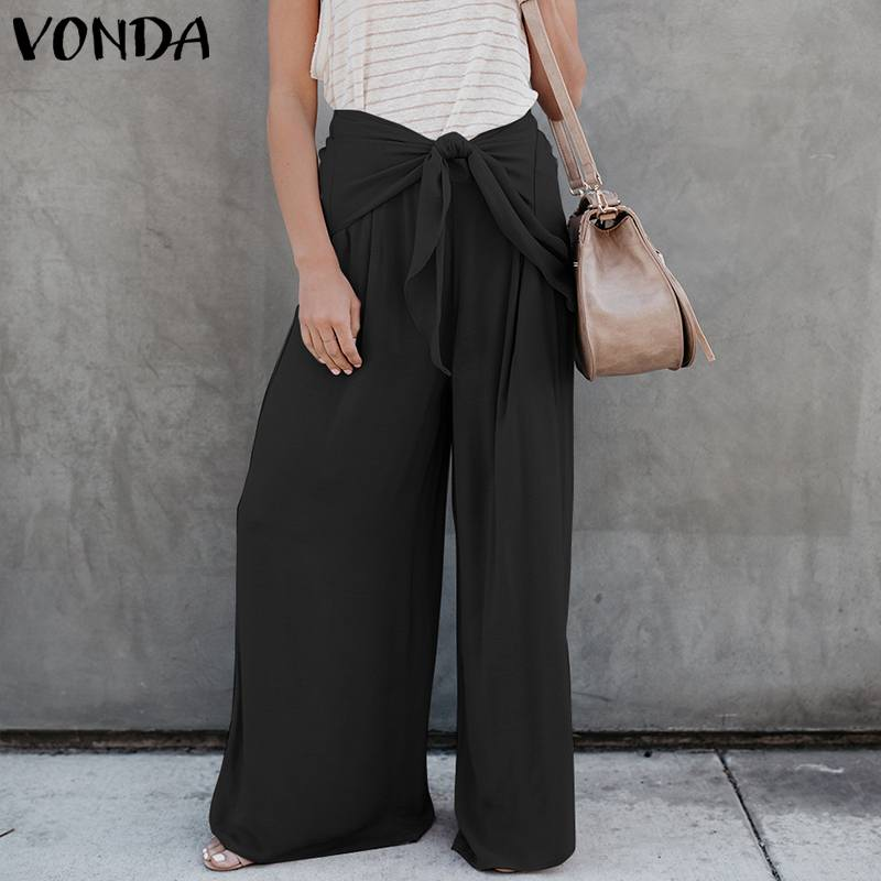 VONDA Women   Wide     Leg     Pants   2019 Autumn Sexy High Waist Bow   Pants   Casual Loose Trousers Female Fashion Bottoms Plus Size