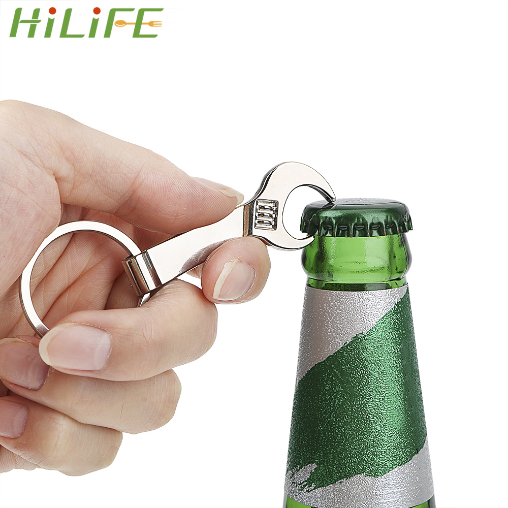 HILIFE Small Spanner Creative Eco-friendly Key Chain Keyring Hotel Restaurant Wedding Beer Bottle Opener Silver Metal Wrench
