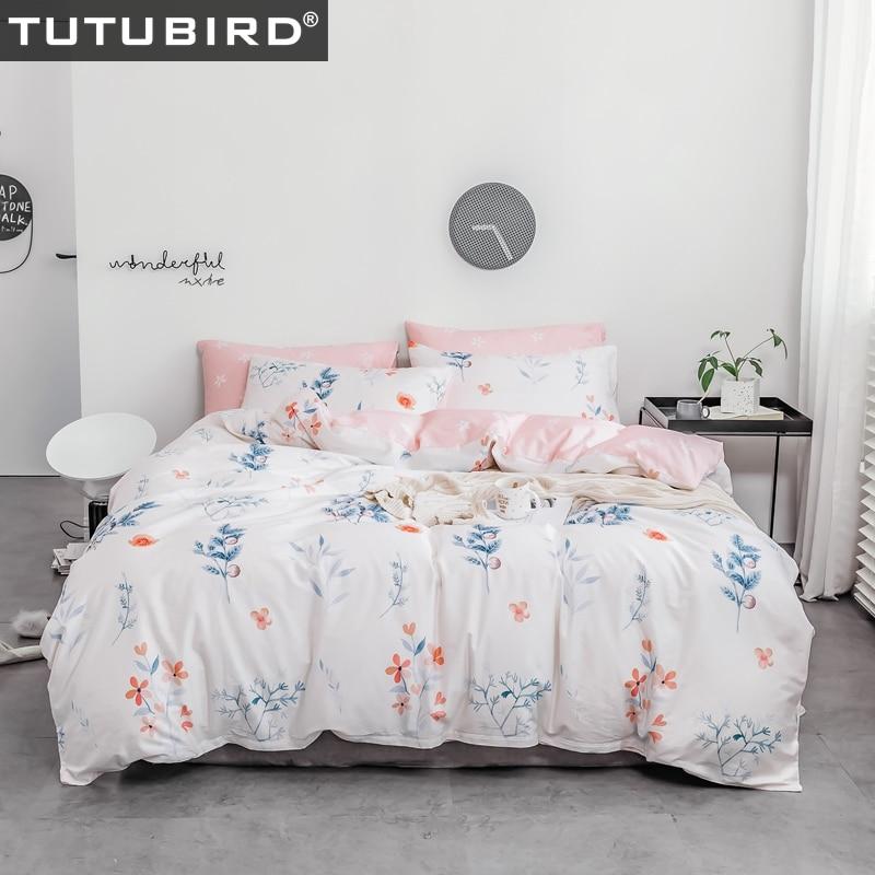 White Pink Floral Print Bedding Sheet Set Bedclothes Girl Princess Bed Linen Soft 4pcs Twin Queen King Duvet Cover Home Textile