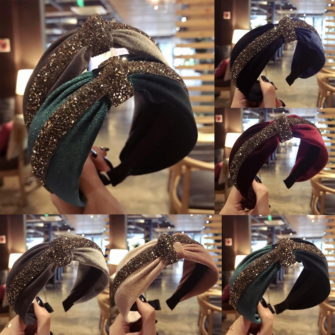 2019 Velvet Hairband For Women Girls Hair Accessories Bezel Headband Big Bow Hair Hoop Winter   Headwear   Party Christmas Gifts