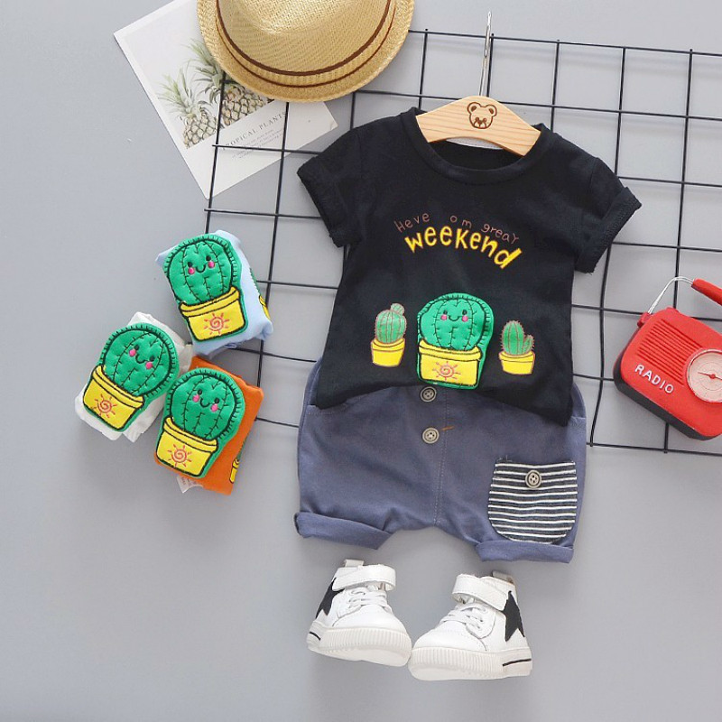 Summer Fashion Toddler Garment Infant Clothing Baby Girls Boys Clothes Suits Cactus T Shirt Shorts 2pce/Set Kid Children Costume