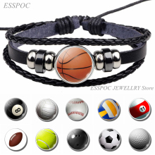 Bangle Bracelet Football Jewelry Basketball Charm Sports-Accessories Men Gifts Black