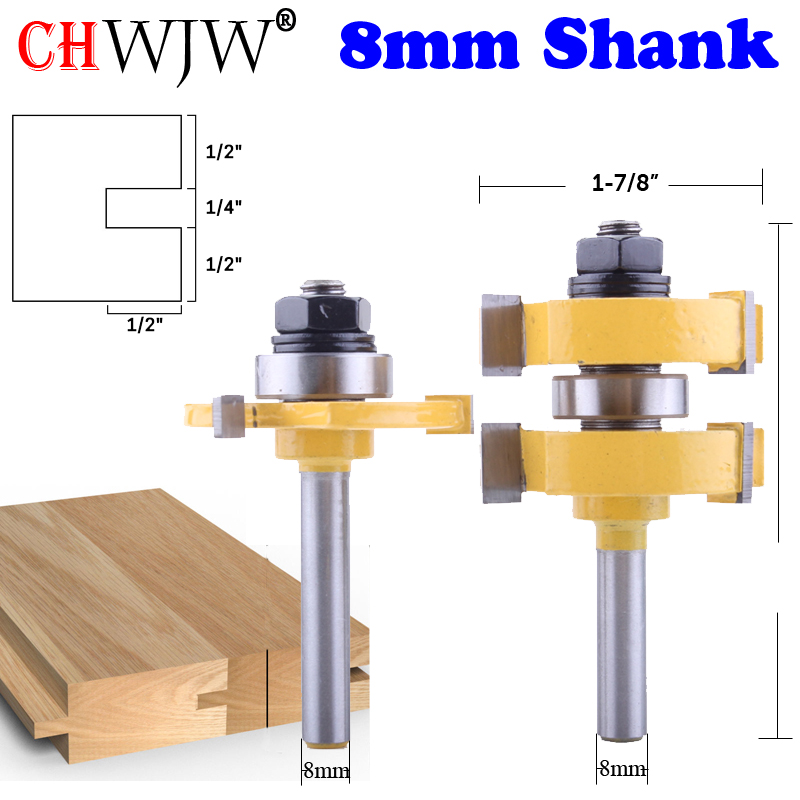 2PC 8mm Shank High Quality Large Tongue And Groove Joint Assembly Router Bit Set  1-1/4