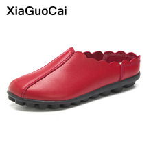 цены 2019 Spring Summer Women's Shoes Slip-on Loafers Female Flats Breathable Doug Footwear Plus Size Gommino Leather Driving Shoes