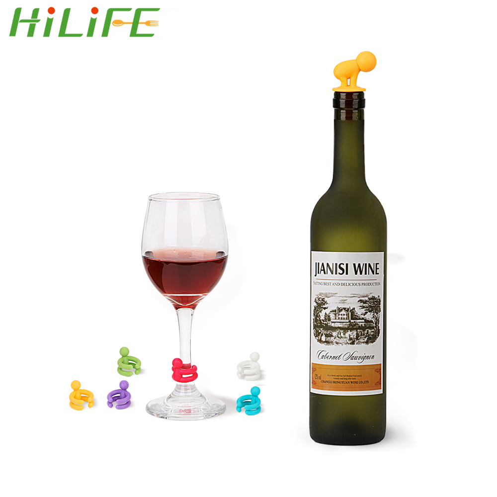 HILIFE Drink Cup Mixproof Silicone Marker Cute Wine Bottle Stopper Rubber Wine Glass Label Leak Free 7pcs/set Bar Party Supplies
