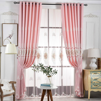 Blackout Curtains For Bedroom Living Room Luxury Pink Curtain With Embroidered Flower European Voile Sheer Curtains Tulle Drape Buy At The Price Of 24 36 In Aliexpress Com Imall Com