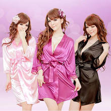 Lady Women's Nightgown Nightdress Sleepwear Robe Bathrobes Long Sleeve Silk Solid Nightwear Clothing(China)