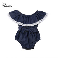 Baby Girl Lace Denim Romper Backless Big Bow Jumpsuit Sunsuit Outfit for Newborn Infant Children Clothes Kid Clothing Summer(China)