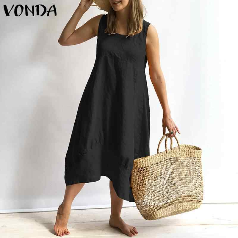 882163b2023 VONDA Women Dress 2019 Summer Sexy Sleeveless Square Neck Cotton Dresses  Vintage Casual Loose Solid Vestidos