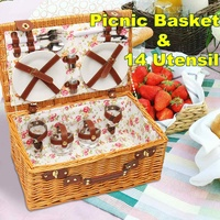 Wicker Picnic Baskets with 14pcs Ceramic Tableware Set Plates Pepper Pot Lunch Box Storage Basket for Camping Outdoor Party