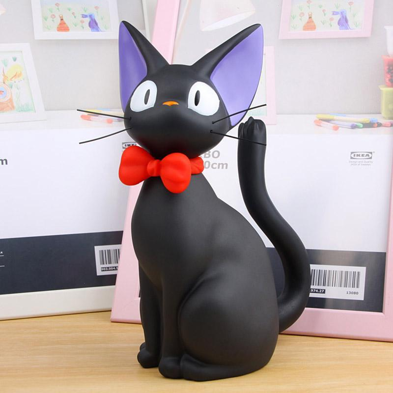 Cartoon Black Cat Figurines Piggy Bank Plastic Animal Money Boxes Coin Bank Home Decoration Crafts For Kids Christmas Gift