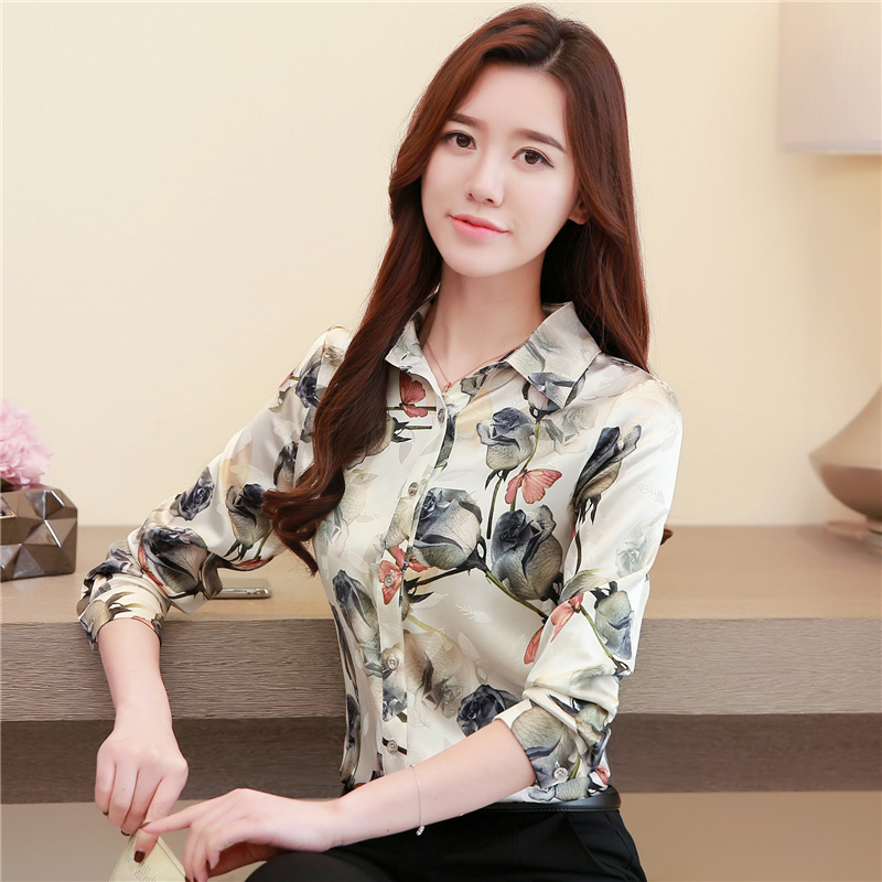 NIJIUDING 2019 Autumn Vintage Women   blouses   Silk Long Sleeve Floral   Blouse     Shirt   Tops Turn-Down Collar Elegant   Shirts