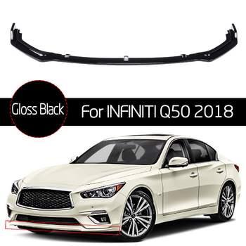 3pcs Gloss Black Front Bumper Chin Lip Spoiler for Infiniti Q50 2018 Only Base Mode Anti-collision Car Exterior Bumper