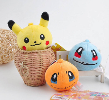 Fashion key chains Pikachu Bulbasaur Charmander Snorlax Squirtle Keyring Pendant For Backpack Bags
