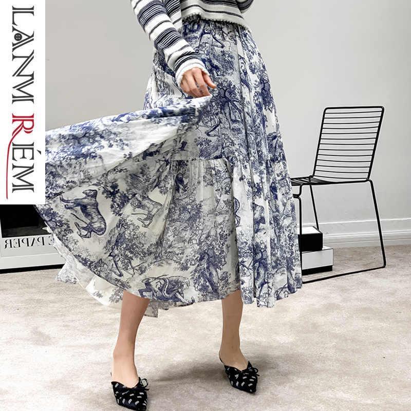 LANMREM 2020 Lente Zomer Fashion Designer Rok vrouwen Hoge Kwaliteit Vintage Gedrukt Katoen Linnen Bottoms Voor Vrouwen BF0390