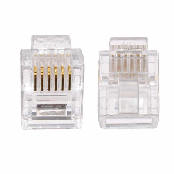 50pcs RJ12 Tel ADSL Modular Plug 6Pin Solid Connector Gold Plated Cable Head Network Terminals Connector