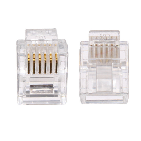 Gold-plated 50pcs RJ12 RJ11 6P6C Modular Plug DSL Telephone Connector