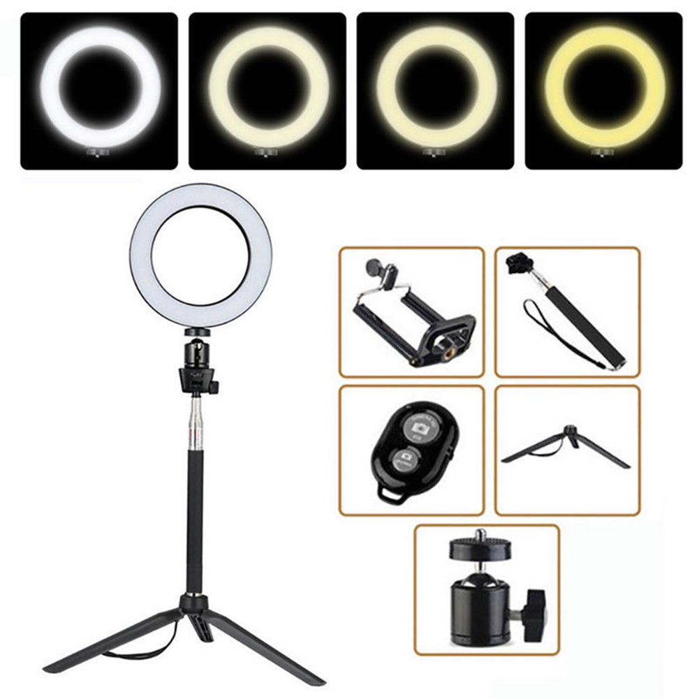 None 14.5/16/20cm Dimmable LED Ring Light Selfie Light Lamp Photo Camera Live Fi