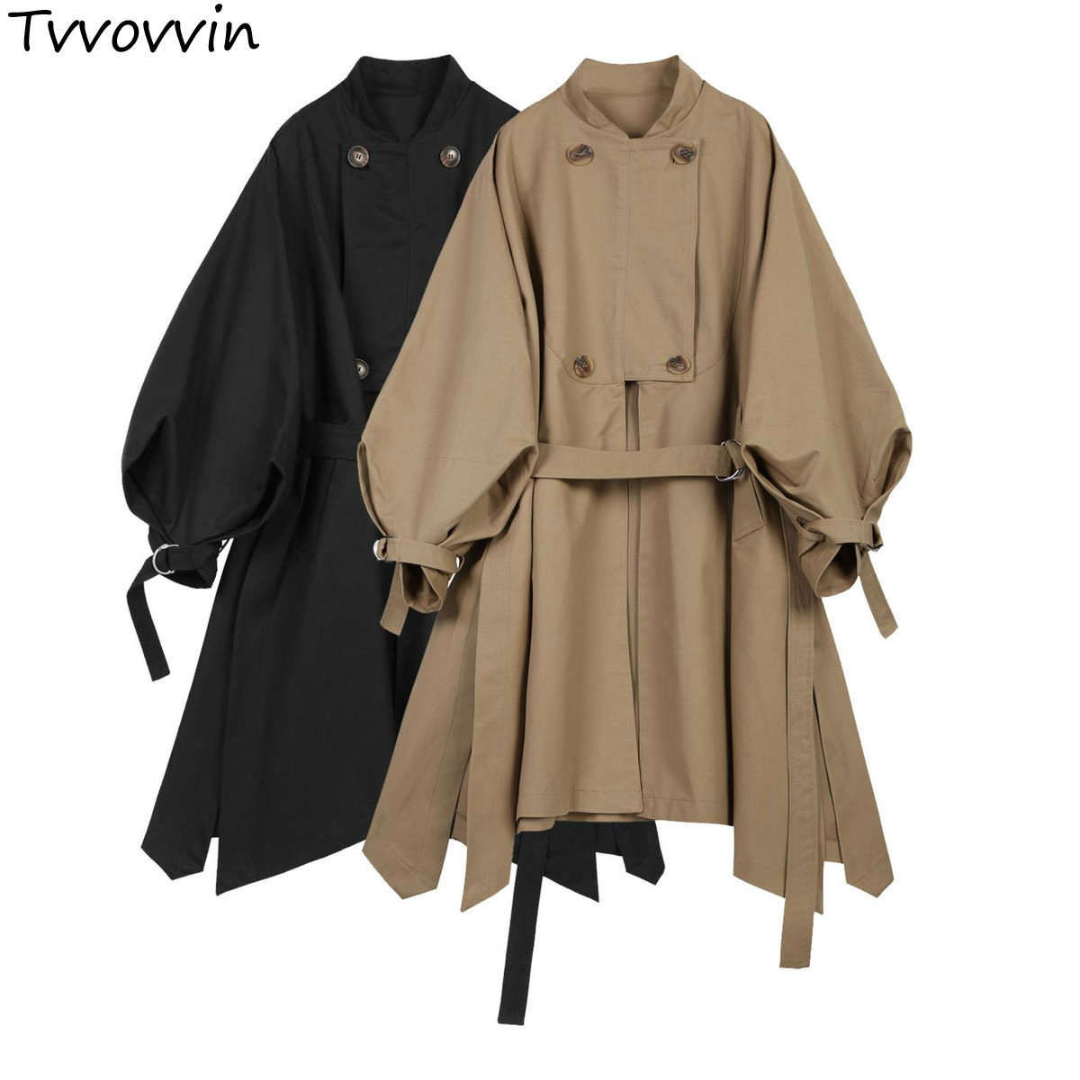 TVVOVVIN Womens   Trench   Coats Lantern Sleeve Irregular Hem Cotton Windbreakers Sleeved Lace Up Long Female Overcoat Autumn Q553
