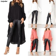 f7d7ba9073 2018 Fall New Long Blouse Fashion Puff Sleeve Baggy Asymmetric Chiffon Long Shirts  Lantern Long Sleeve Tops Blusa Feminina .