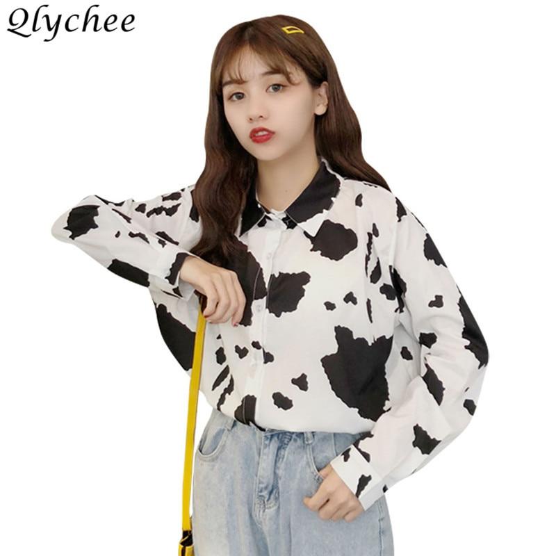 ce48a75639 Qlychee Dariy Cow Print Long Sleeve Blouses Female Long Sleeve Turn Down  Collar Shirts Spring Autumn Casual Women Blouse Shirts