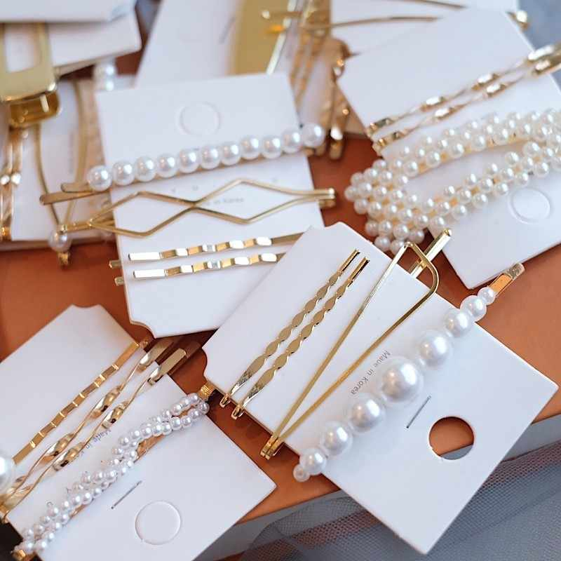 2019 New Women Barrettes Set Korean Simulated Pearl Gold Hair Clip Hairgrips Hair Accessories Girls Jewelry Fashion Hair Pins