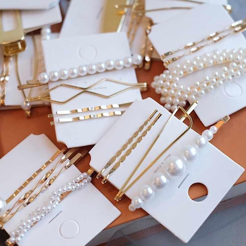 2019 New Women Barrettes Set Korean Simulated Pearl Gold Hair Clip Hairgrips Hair Accessories Girls Jewelry Fashion Hair Pins