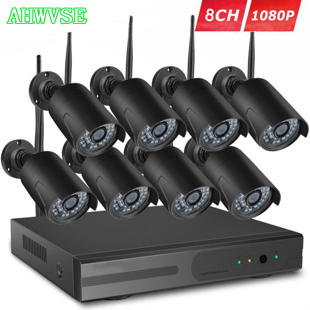 AHWVSE 8CH CCTV System Wireless 1080P NVR With 2.0MP Outdoor Waterproof Wifi Security Camera System NightVision Surveillance Kit