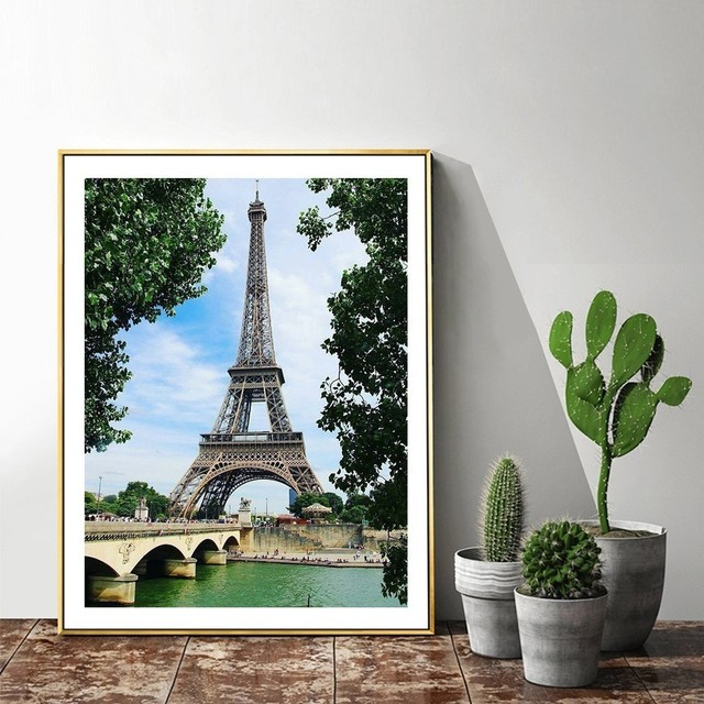 HUACAN Full Square Diamond Painting Eiffel Tower 5D DIY Mosaic Diamond Embroidery Landscape Decor Home Picture