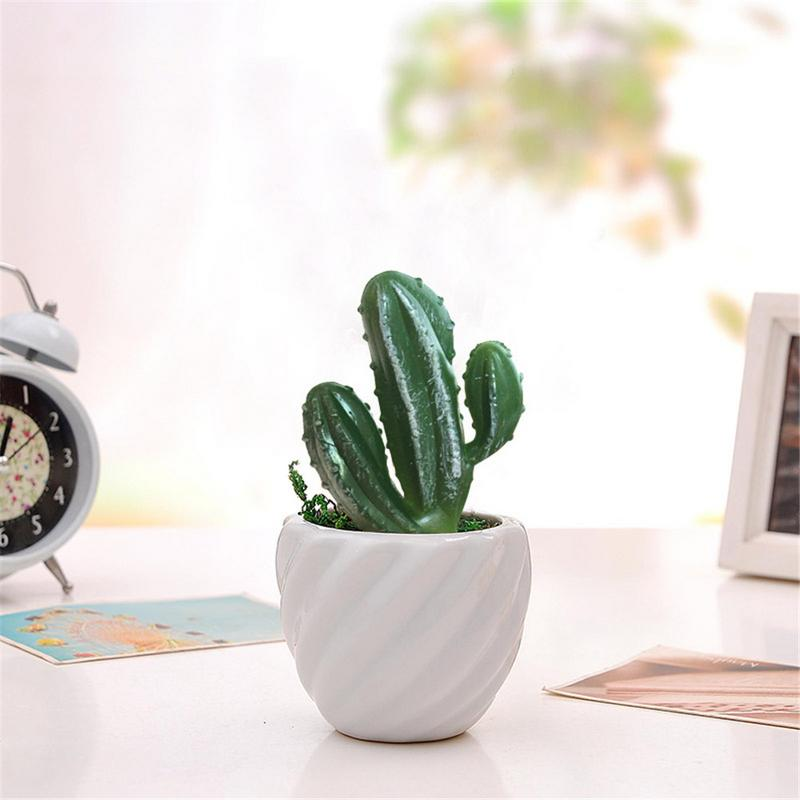 Artificial Three Head Cactus Plastic Plants Flocking Mini Rose Craft Floristry Decoration Home Furnishings Craft Decoration