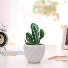Artificial Three Head Cactus Plastic Plants Flocking Mini Rose Craft Floristry Decoration Home Furnishings