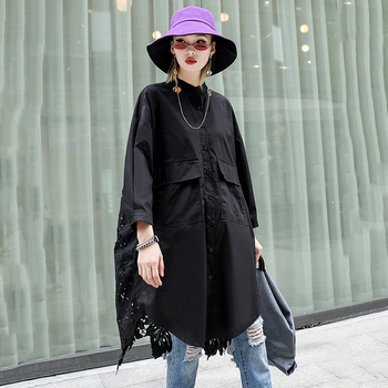 [EAM]2019 New Autumn Winter Stand Collar Long Sleeve Back Lace Hollow Out Spliced Big Size Shirt Women Blouse Fashion Tide JR835 1